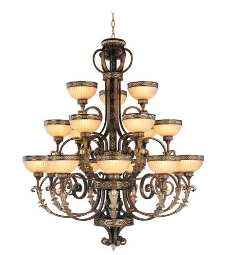 Livex 8539 64 Seville 18 Light 44 Inch Palacial Bronze With Gilded Accents Chandelier Ceiling