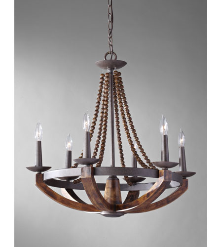 Feiss F2749 6ri Bwd Adan 6 Light 26 Inch Rustic Iron And Burnished Wood Chandelier Ceiling