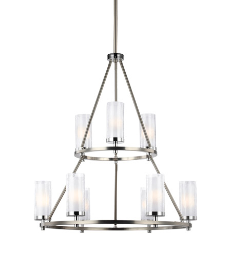 Feiss F2987/9SN/CH Jonah 9 Light 30 inch Satin Nickel and