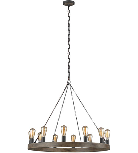 feiss f3932 12wow af avenir 12 light 36 inch weathered oak wood antique forged iron chandelier ceiling light
