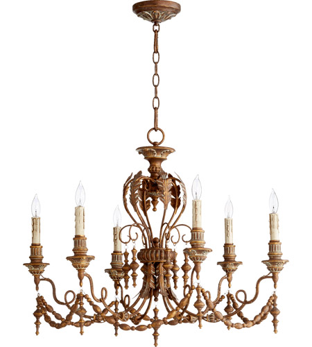 Quorum 6236 6 39 Nto Light 28 Inch Vintage Copper Chandelier Ceiling