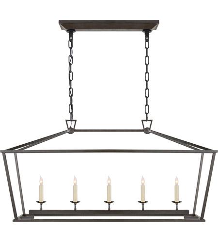 visual comfort chc2156ai e f chapman darlana 5 light 41 inch aged iron linear lantern ceiling light