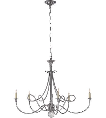 Visual Comfort Sc5005as Eric Cohler Double Twist 5 Light 36 Inch Antique Silver Chandelier Ceiling