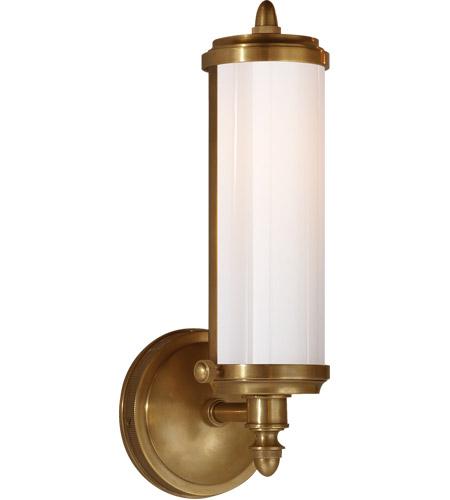 visual comfort tob2206hab wg thomas o brien merchant 1 light 5 inch hand rubbed antique brass bath wall light