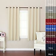 "Best Home Fashion Beige Grommet Top Thermal Insulated Blackout Curtain 52"" W X 63"" L 1 Pair - GT"