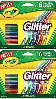 2 PACK Crayola Glitter Markers, 6 Count