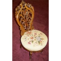 Antique hand carved & embroidered Victorian Parlor Chair ...