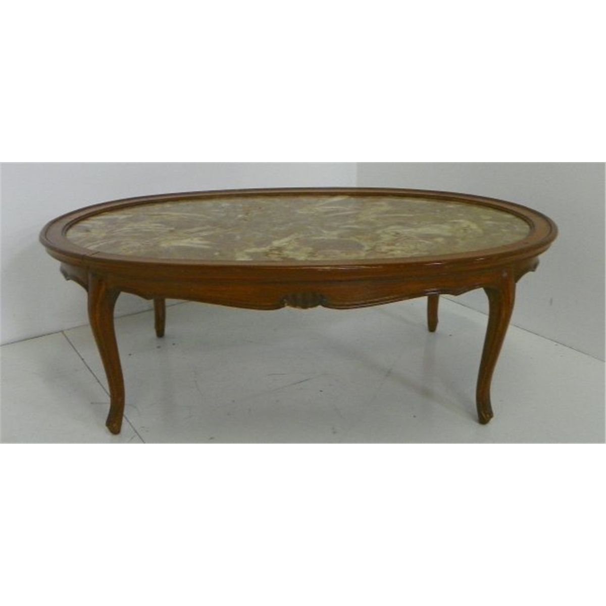 Country French marble top oval coffee table