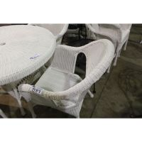 CURVED BACK WHITE RATAN DINING CHAIR