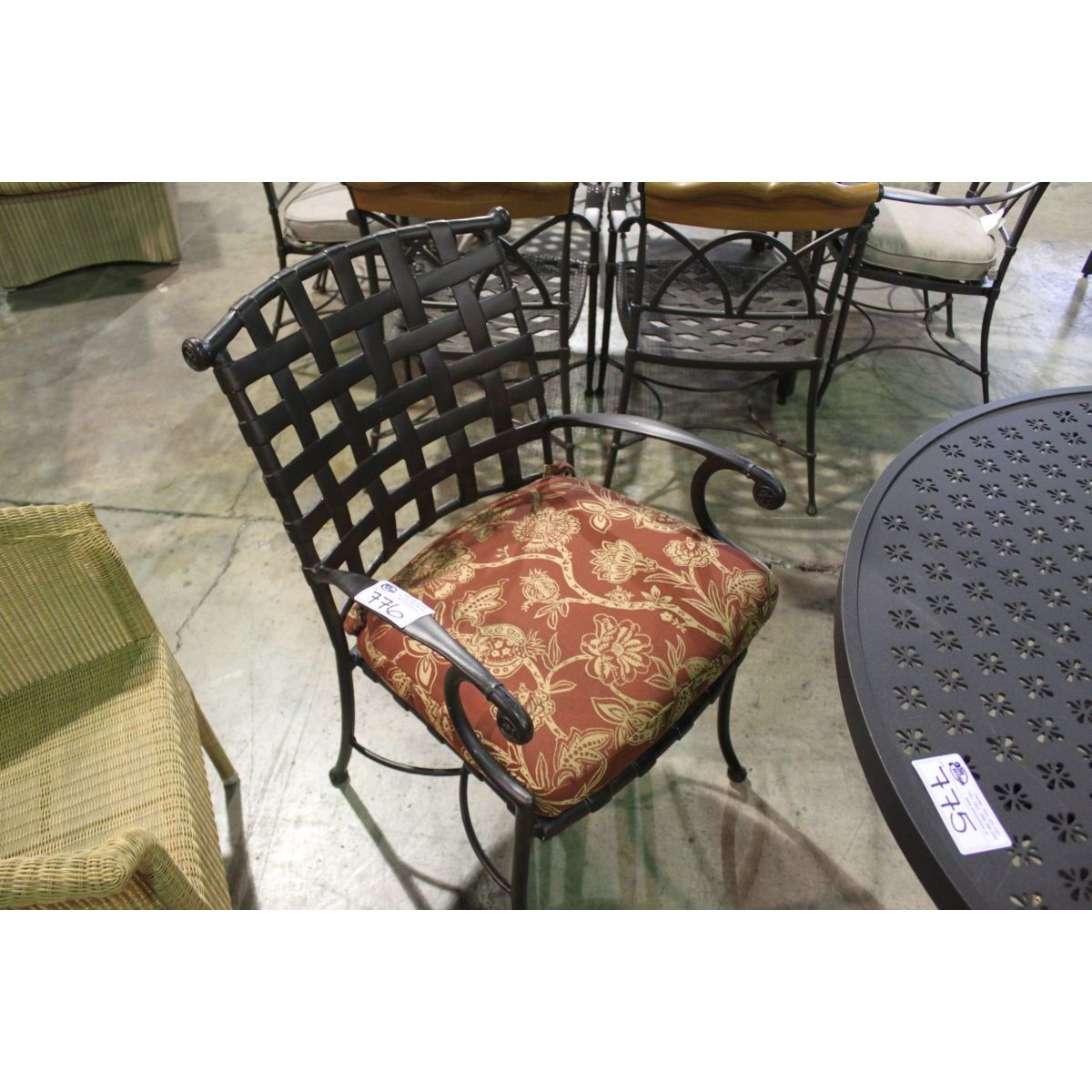 metal kitchen chair cushions vintage upholstered rocking weave back modeled dining with cushion able