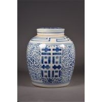 19th C. Blue & White Double Happiness Ginger Jar