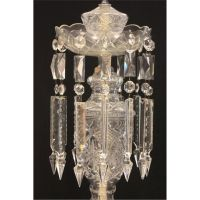 Crystal lamp with hanging prisms