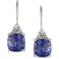 10k Gold Simulated Tanzanite and Diamond Earrings