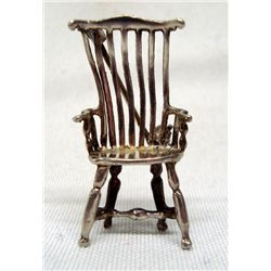 Antique Mini Silver Chair Pin