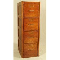 Globe Oak 4 Drawer File Cabinet