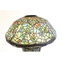 """Tiffany style multi color """"Spider Web"""" table lamp"""