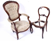 Victorian Occasional Chair & 1 Chair without Seat