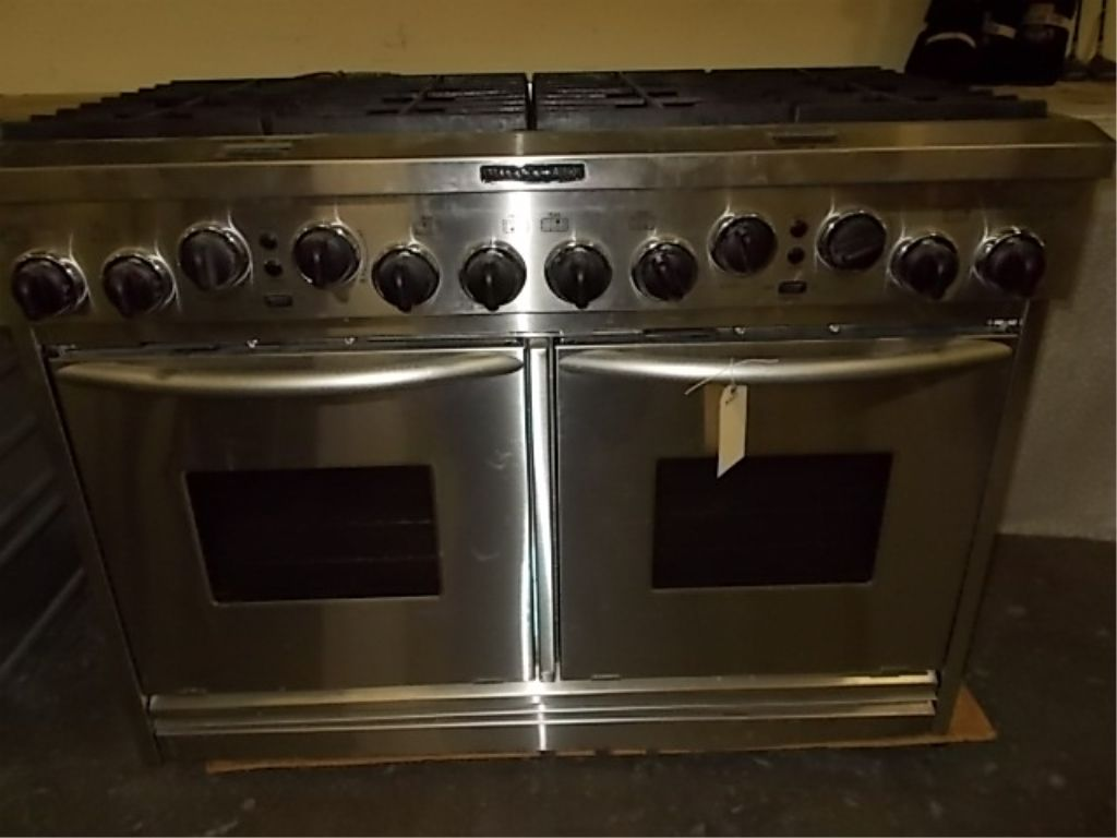 kitchen aid stoves cabinet hinge types range 8 burner full double oven stainless steel model image 1 kdrp487mss03