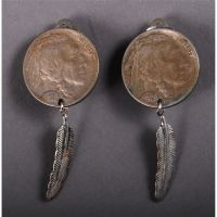 Native American Indian Silver Buffalo Nickel Indian Earrings