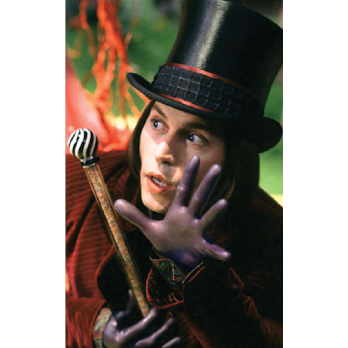 Johnny Depp Willy Wonka Cane Tim Burton Charlie And Chocolate Factory With 1-sht Poster
