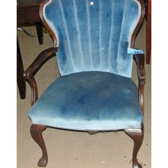 Old Blue Chair Walnut Dining Chairs Antique Valour Upholstered Fan Back Arm
