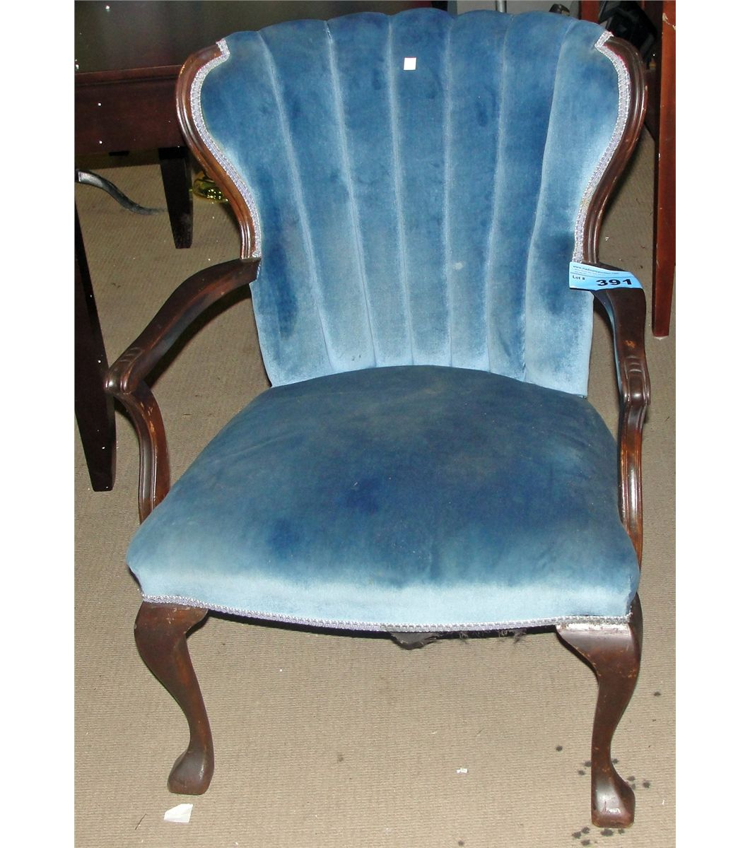 Fan Back Chair Antique Blue Valour Upholstered Fan Back Arm Chair