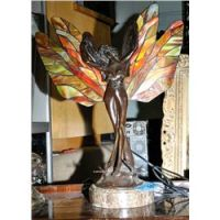 Leaded stained glass fairy lamp with marble base