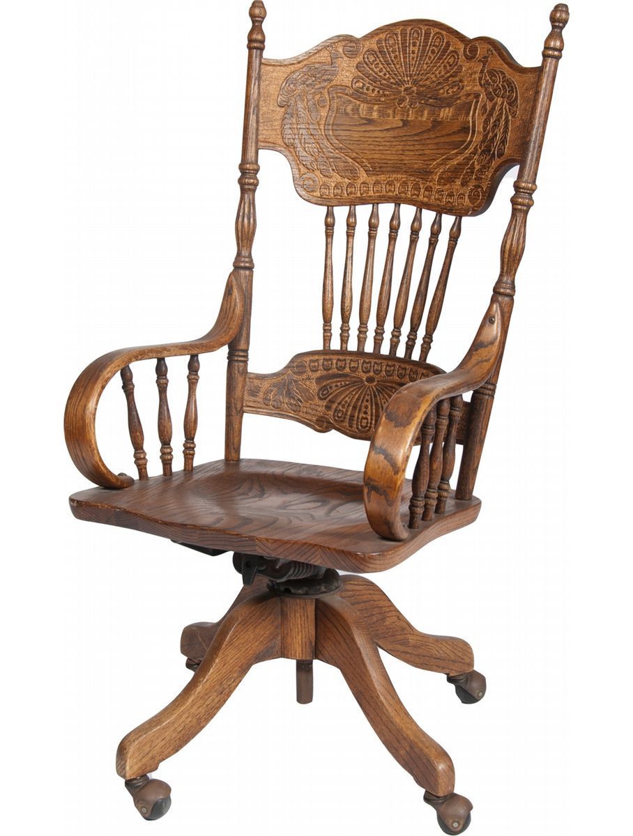 Ornate Carved Wood Desk Chair on Wheels w Armrests Fea
