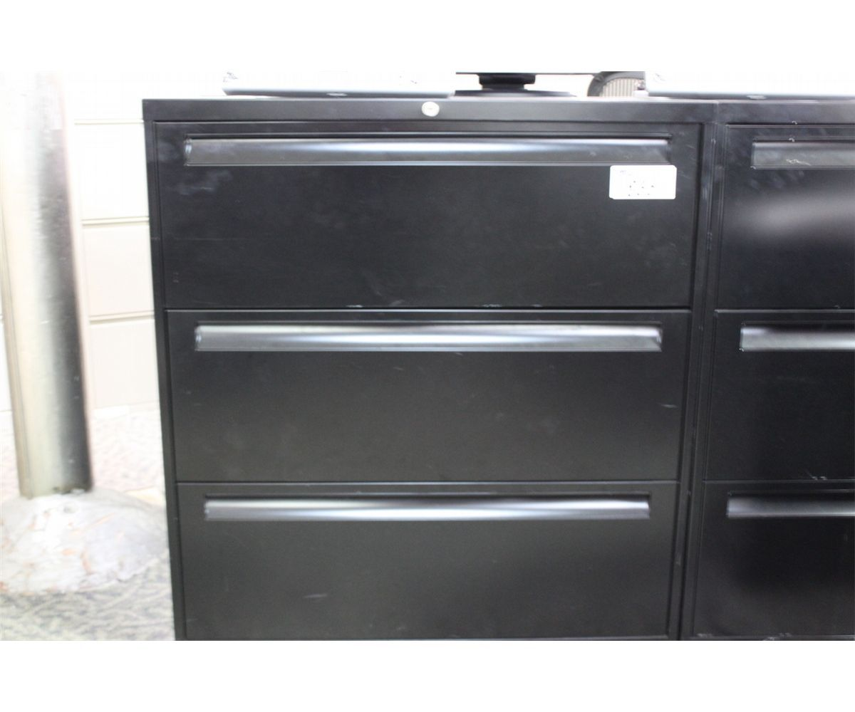 BLACK 3 DRAWER LATERAL FILE CABINET  Able Auctions