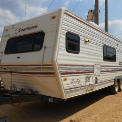 Front Kitchen Travel Trailer Red And Yellow Curtains Coachman Prestige 29 S N Rear Bedroom Image 1