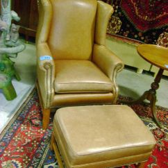 Ethan Allen Leather Chair Folding Covers Amazon Wingback With Ottoman Image 1
