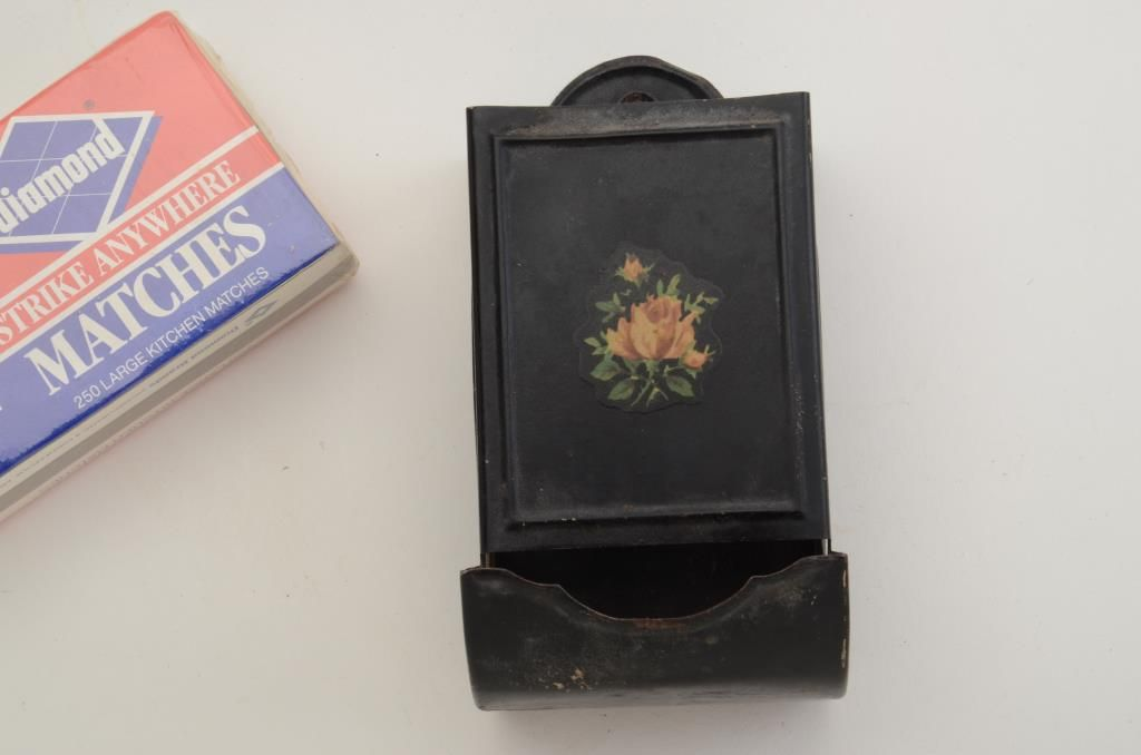 Antique painted metal kitchen matchbox holder with box of