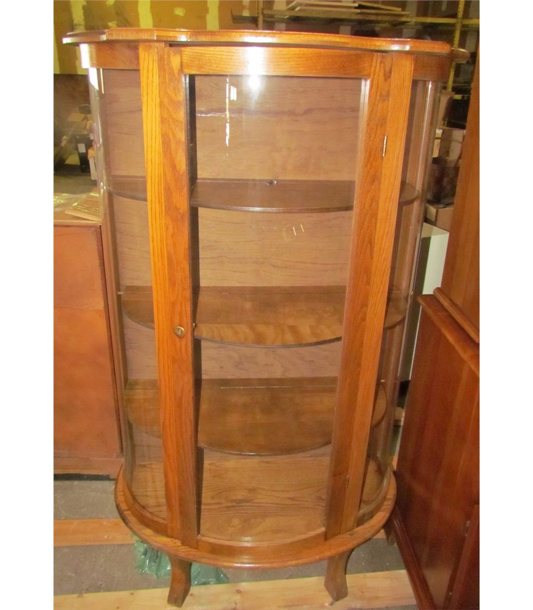 Antique Cherry Wooden Curio Cabinet with Glass Doors and