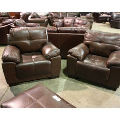 2 Piece Brown Leather Sofa Cup Holder For Arm 5 Loveseat Two Chairs And Ottoman