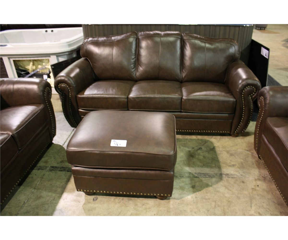 brown leather studded sofa broyhill bed reviews 4 piece traditional arm loveseat chair image 2 and