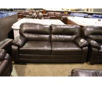 5 PIECE MODERN BROWN LEATHER SOFA, TWO LOVESEATS, CHAIR ...