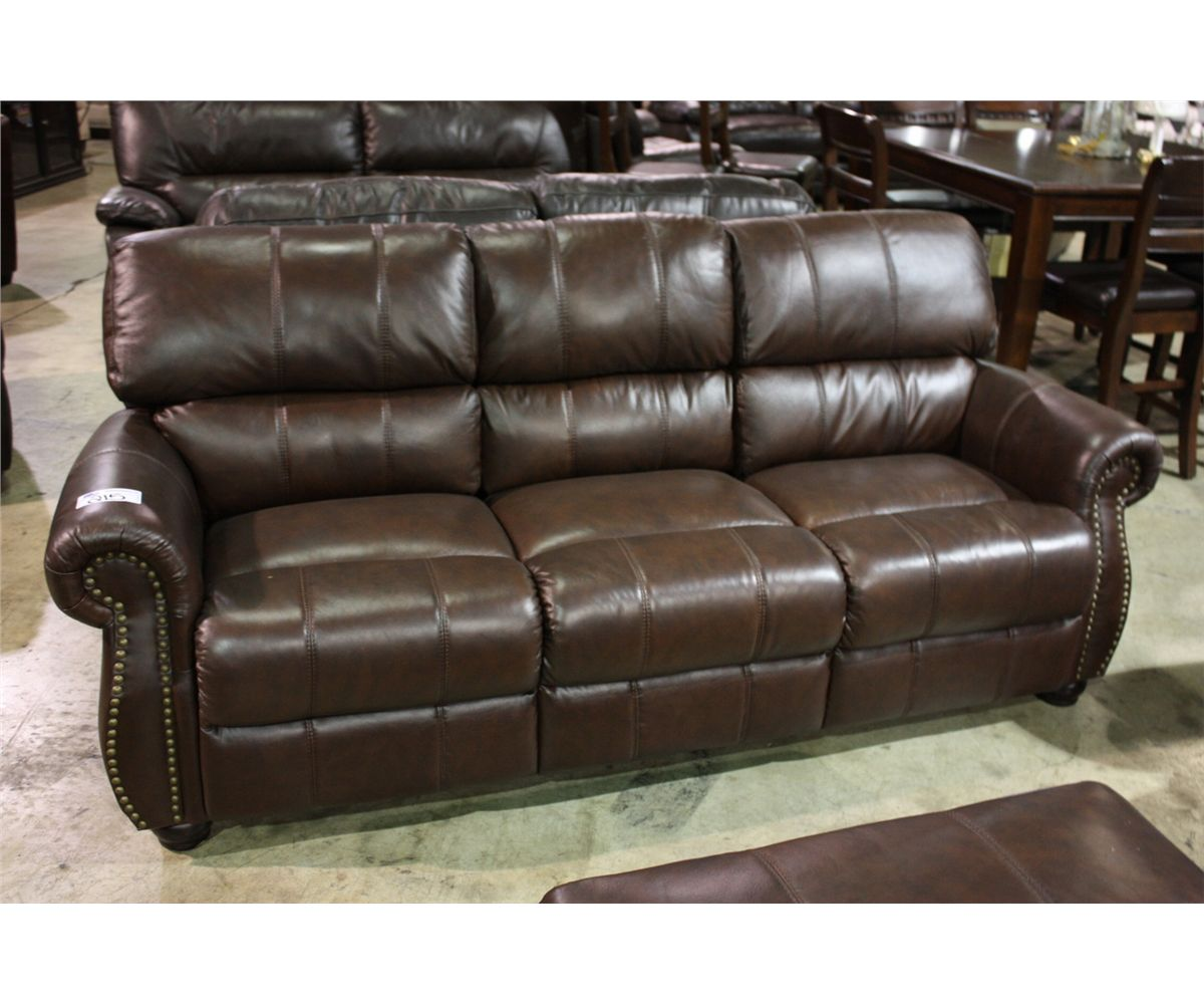 brown leather studded sofa flexsteel reclining traditional love seat chair image 1 set with