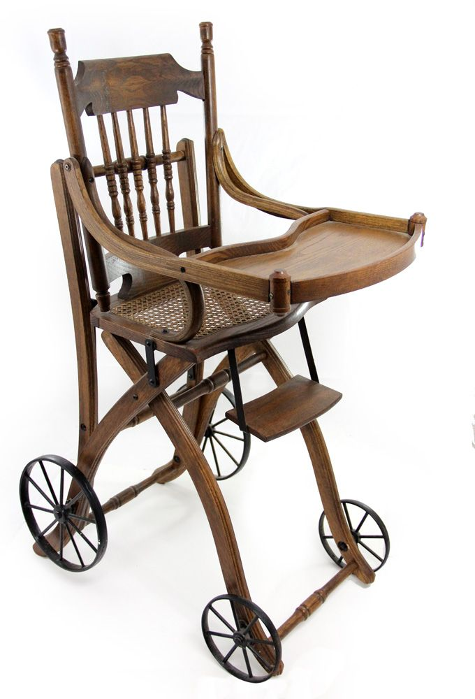 antique high chairs big joe 1910s victorian oak chair and stroller loading zoom