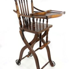 Antique High Chairs Faux Leather Club Chair 1920s Victorian Oak And Stroller Loading Zoom