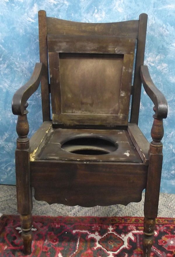 wood camp chair leather repair antique chamber pot | furniture