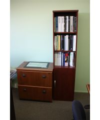 MAPLE / BLACK CORNER DESK WITH 2 DRAWER LATERAL FILE ...