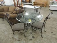 CONTEMPORARY WROUGHT IRON PATIO TABLE & 4 CHAIRS