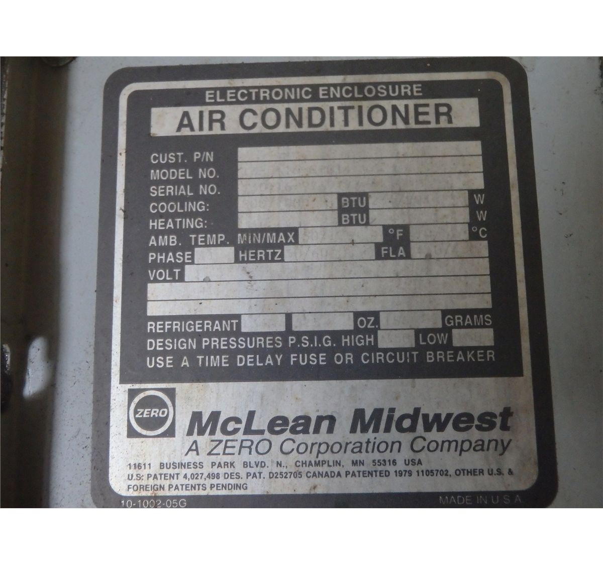 hight resolution of  image 5 mclean midwest electrical box chiller air conditioner tag not legible