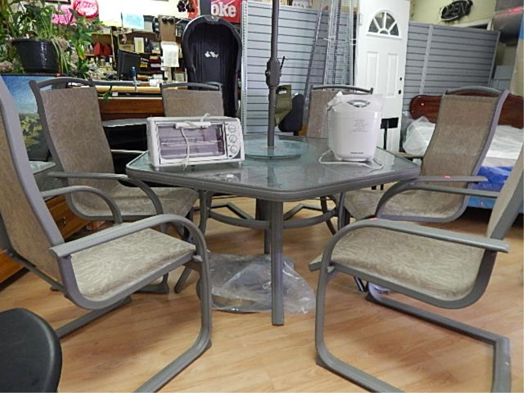 hexagon glass top patio table with lazy susan and chairs i