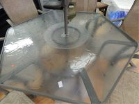 HEXAGON GLASS TOP PATIO TABLE WITH LAZY SUSAN AND 6 CHAIRS