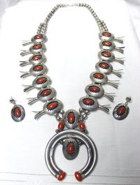 1950 Silver Coral Squash Blossom & Earrings by Whitman
