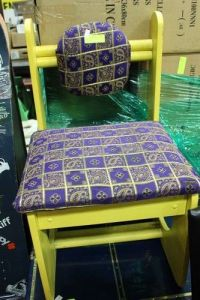 FUNKY YELLOW & PURPLE WOOD / FABRIC CHAIR - Kastner Auctions