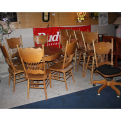 Round Oak Table And 6 Chairs Ikea Chair Slipcovers 4 Bar Stools Mobile