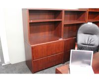 MAHOGANY 2 DRAWER LATERAL FILE CABINET CW OVERHEAD SHELF