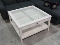 CONTEMPORARY WHITE GLASS TOP DISPLAY COFFEE TABLE - Able ...